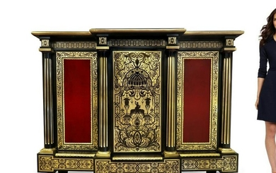 19th C. Large French Boulle Vitrine Cabinet