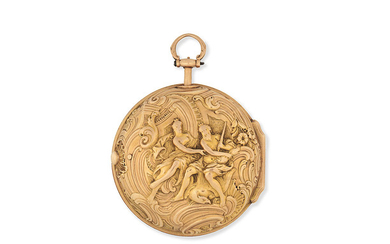 Cabrier, London. A gold key wind pair case pocket watch with repoussé decoration