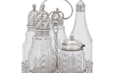 An early George III silver five bottle cruet stand by Edward Aldridge I & Edward Aldridge II