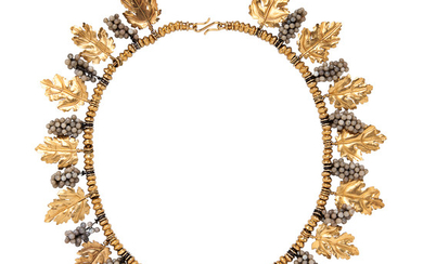 Etruscan Revival Gold and Glass Grapevine Necklace, Castellani