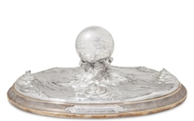 Large sterling silver and bronze presentation inkwell centerpiece Tiffany...