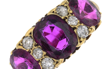 A late Victorian 18ct gold Thai ruby three-stone and diamond ring.
