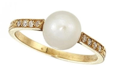 A pearl and diamond ring, the single...