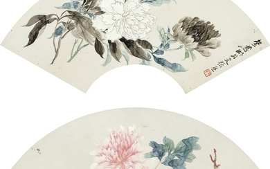 FLOWERS AND LANDSCAPE, Zhang Xiong 1803-1886