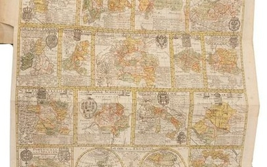 German school geography with large sheet of maps 1795