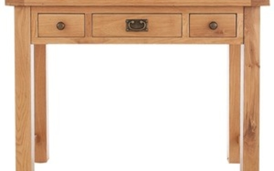 A pair of new oak three drawer bedside cupboards - 57cm H x ...