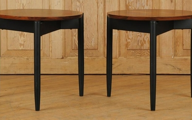 PAIR ROUND ROSEWOOD END TABLES EBONIZED LEGS