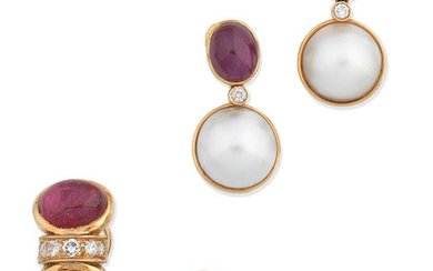 A pair of ruby, diamond and cultured pearl earrings, and a pair of tourmaline and diamond earrings