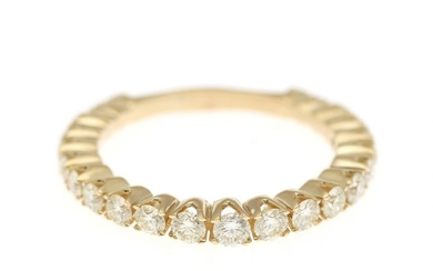 A diamond eternity ring set with numerous brilliant-cut diamonds totalling app. 1.25 ct., mounte in 14k gold. Size 58.