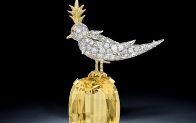Tiffany & Co. - Tiffany & Co. Schlumberger Citrine and Diamond Bird on a Rock Brooch
