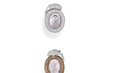 Pair of kunzite, coloured sapphire and diamond ear clips, 'Violetta', de Grisogono