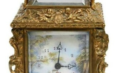 Louis XV Style Carriage Clock with Enamel Panels