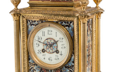 A French Champlevé Enameled Gilt Bronze and Brass Mantel Clock (late 19th centur)