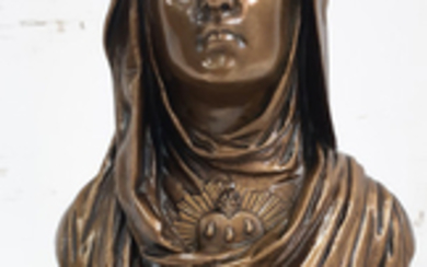 SIGNED 19TH C. FRENCH BRONZE BUST OF VIRGIN MARY
