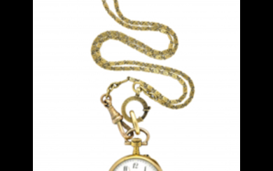 ANONYMOUS Lady's 18K gold pocket watch with chain Second...