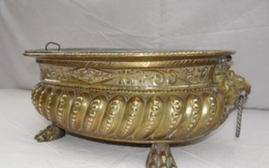 EMBOSSED BRASS RIBBED SHAPED OVAL JARDINIERE