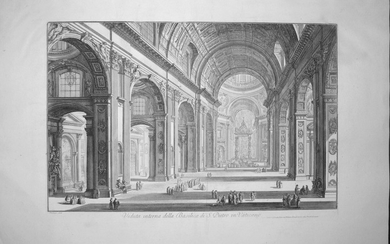 Piranesi, Giovanni: ST. PETER'S INTERIOR WITH THE NAVE, Year 1748.
