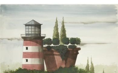UNKNOWN ARTIST (20th century) UNTITLED (LIGHTHOUSE WITH PLANTER) Signed...