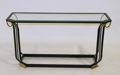 Deco Style Steel and Brass Glass Top Table