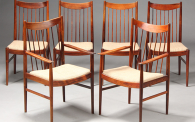 Helge Sibast. Armchairs as well as dining chairs, rosewood (6)
