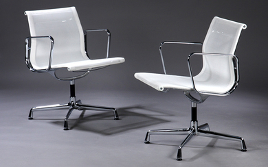 Charles Eames. A pair of chairs, model EA-108 in white mesh (2)