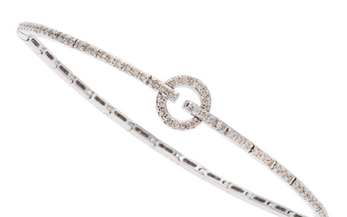 Diamond, White Gold Bracelet The bracelet features full-cut diamonds...