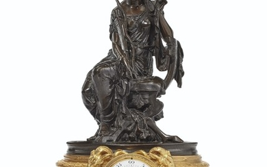 A NAPOLEON III PATINATED AND GILT-BRONZE MANTLE CLOCK, SIGNED D. MERCIER, THE MOVEMENT BY VINCENTE CI, THIRD QUARTER 19TH CENTURY