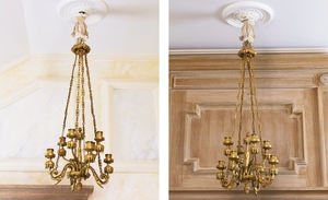 A pair of French gilt-bronze eight-light chandeliers, Paris, late 19th century