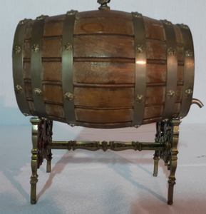 BRONZE MOUNTED FRENCH WOODEN KEG ON STAND