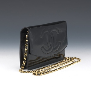 Chanel Patent Black Leather Wallet on Chain, 1997