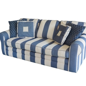 Lot-Art | Denim Blue and Cream Striped Sofa by J.G. Hook for ...