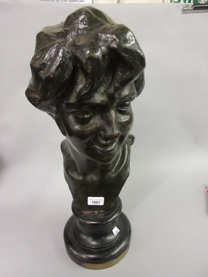 Jules Herbays patinated bronze bust of a young woman, signed...