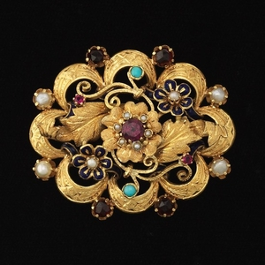 Ladies' Gold and Gemstone Brooch