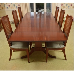 Lot Art Vintage Duncan Phyfe Style Drop Leaf Dining Table With Cane Back Side Chairs