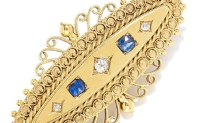 ANTIQUE SAPPHIRE AND DIAMOND BROOCH in high carat