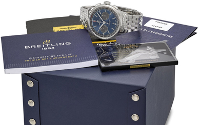 BREITLING. A STAINLESS STEEL AUTOMATIC CHRONOGRAPH WRISTWATCH WITH DATE, BRACELET, INTERNATIONAL WARRANTY AND BOX, SIGNED BREITLING, 1884, CHRONOMETER, PREMIER, REF. AB0118, CASE NO. 3'245'128, CIRCA 2019
