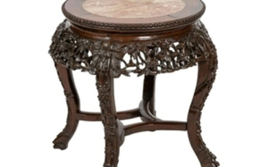 Chinese Carved Teak and Marble Stand