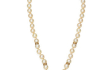 A cultured pearl, blister pearl and diamond necklace