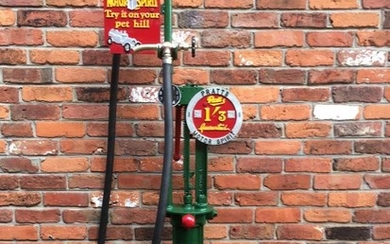 An early one gallon petrol pump manufactured by Wayne Tank & Pump Co Ltd