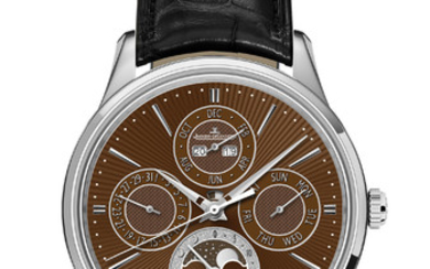 JAEGER-LECOULTRE MASTER UITRA THIN PERPETUAL ENAMEL CHESTNUT Presenting an exceptional work from Jaeger-LeCoultre's Manufacture, where the codes of the Master Ultra Thin collection have been reinterpreted by the Métiers Rares®workshop, to create a...,