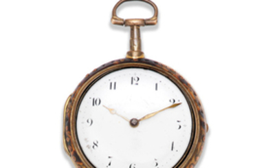 James Williams, London. A gilt metal and under-painted horn pair case pocket watch