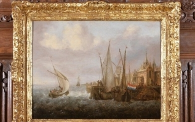 Jan Peeters the Elder (Flemish 1624-c.1677) Shipping in choppy seas off a harbour
