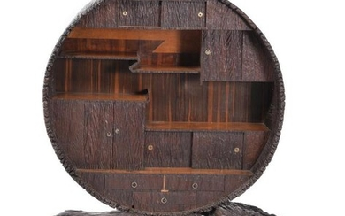 A Japanese wooden open display cabinet