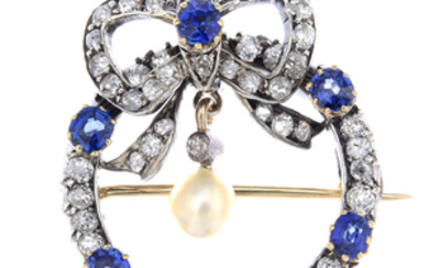 A late Victorian silver and gold, sapphire, diamond and pearl brooch.