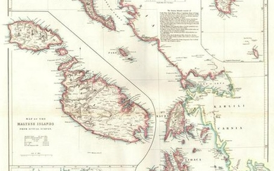 Map of the Ionian Islands and Malta