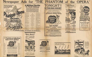 A pair of newspaper exhibitor ads for The Phantom of the Opera