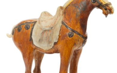 A sancai-glazed pottery model of a horse