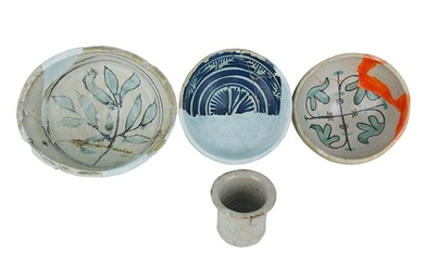Two bowls, a cup, a vase Two bowls in archaic...