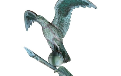 VERY FINE AND RARE MOLDED FULL BODIED SHEET COPPER EAGLE WITH QUILL WEATHERVANE, J.W. FISKE AND CO.,, NEW YORK, CIRCA 1885