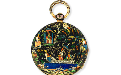 Vieyres, 40 Pall Mall, London. A gold and enamel decorated key wind open face pocket watch